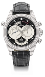 Omega. A large stainless steel automatic split seconds chronograph wristwatch with date and co-axial escapement