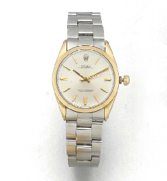 ROLEX: A STEEL AND GILT AUTOMATIC WRISTWATCH WITH CENTRE SECONDSsigned Rolex, Oyster Perpetual, Superlative Chronometer Officially Certified, circa 1980.