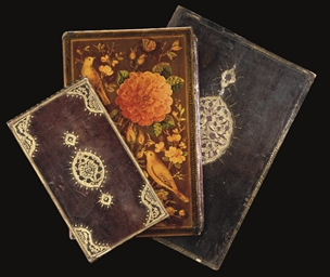 A COLLECTION OF VARIOUS BOOK BINDINGS AND OTTOMAN LEATHER EMBROIDERED WALLETS, TURKEY AND IRAN, 16TH-19TH CENTURY