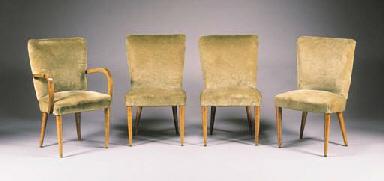 A SET OF FOUR UPHOLSTERED FRUITWOOD CHAIRS