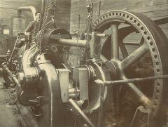 "A worker with The ""Tangye"" suction Gas engines At Miranui"
