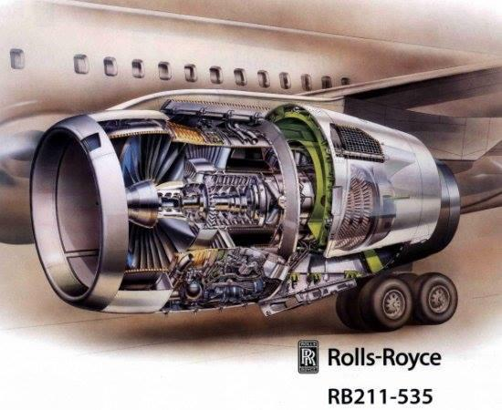 Cut-away diagram of the RB211-535 fitted to a Boeing 757