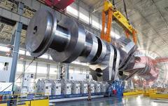 Huge crankshaft of a marine engine