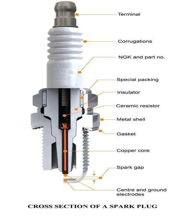 Cross section of spark plug