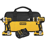 DeWalt Power Tools 20V MAX* XR Lithium Ion Brushless Compact Hammerdrill & Impact Driver Combo Kit