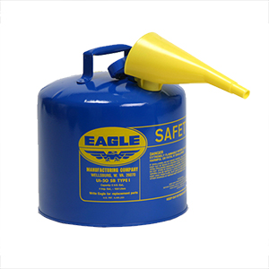Type I Safety Can, 5 Gal. Blue with F-15 Funnel