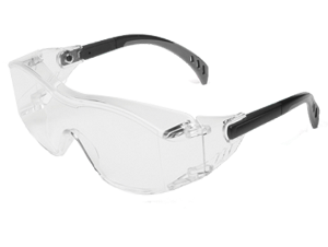 Cover2 OTG Clear Safety Glasses [Black Temple]