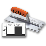 "Kraft Tool Company 1/2"" X 1/2"" X 1/2"" Square Notch Trowel w/ ProForm® Handle"