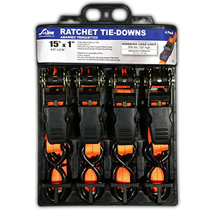 Orange Ratchet Tie Downs 15' X 1
