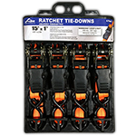 "S-Line Orange Ratchet Tie Downs 15' X 1"" [4 Pack]"