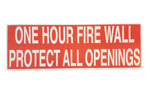 One Hour Fire Wall Warning Label [50]