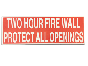 Two Hour Fire Wall Warning Label [50]