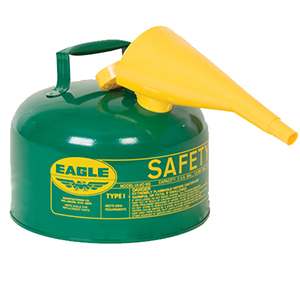 Type I Safety Can, 2.5 Gal. Green with F-15 Funnel