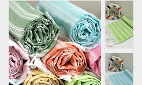 $419 for 60 Pieces of Palace Style Turkish Peshtenal Towels (Custom Wedding Anagram)