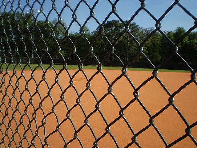Ball field behind chain-link fence