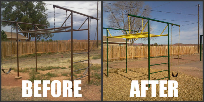 Before and after pictures of the Fredonia, AZ park