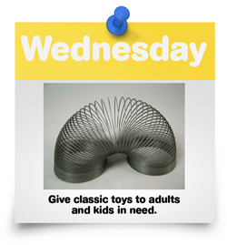 Give classic toys to adults and kids in need