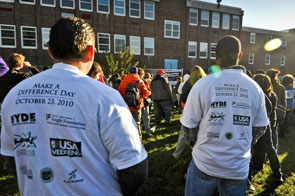 Playground build at Hyde Public Leadership Charter School on Make a Difference Day