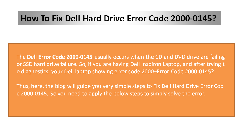 Fix Dell Error Code 2000-0145