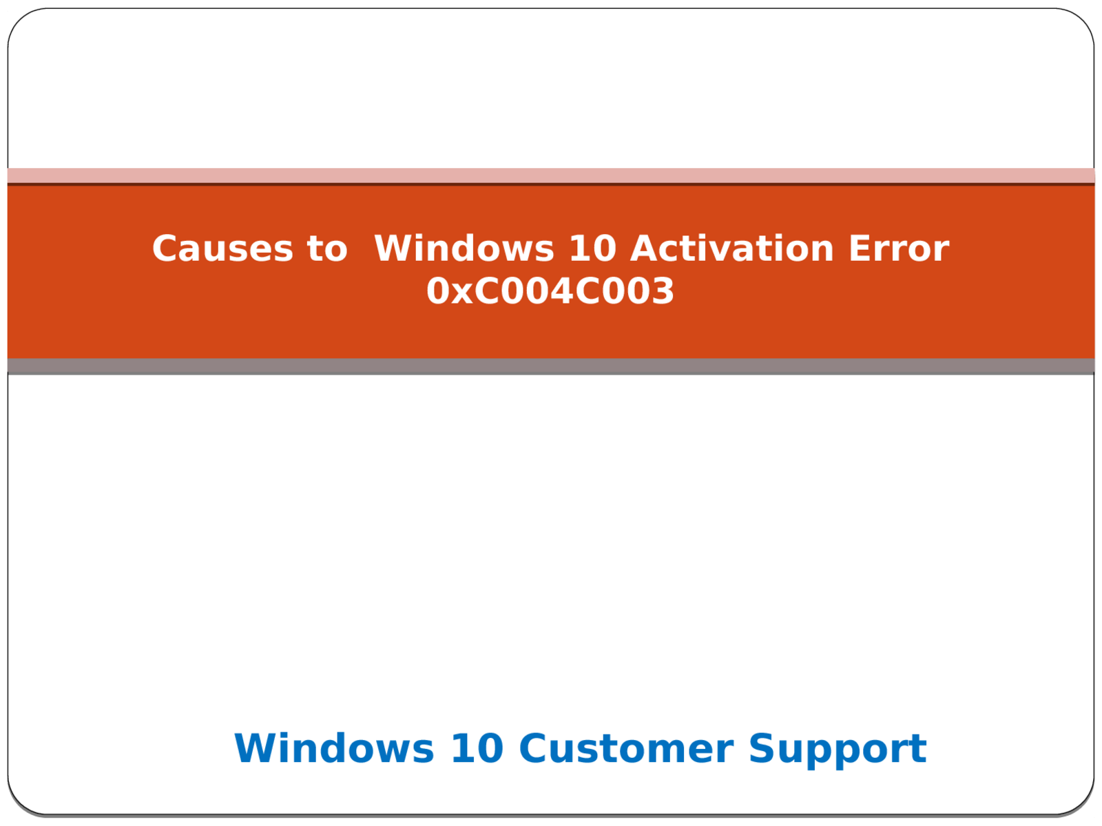 Solution to Windows 10 Activation Error 0xC004C003