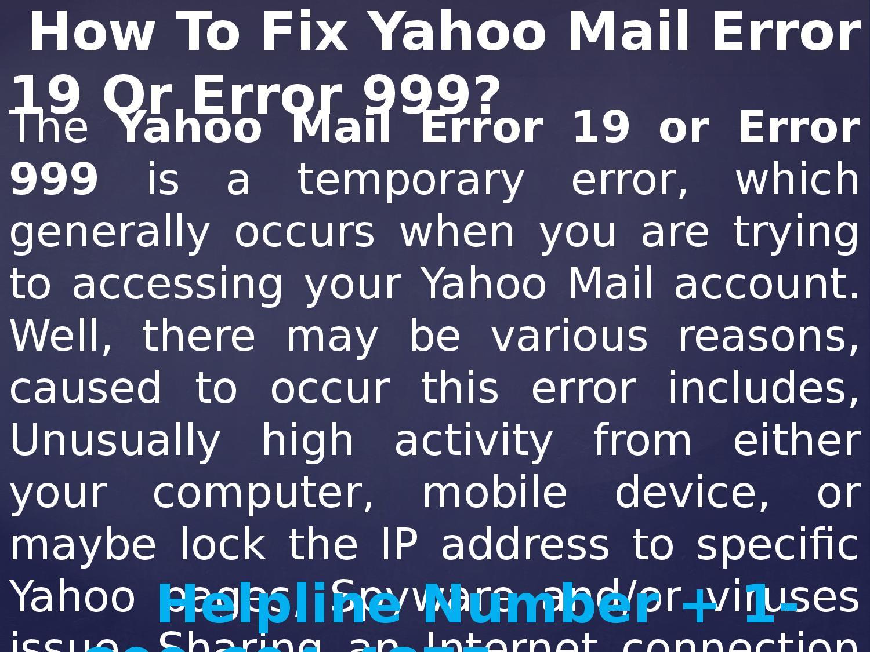 Yahoo mail error 999