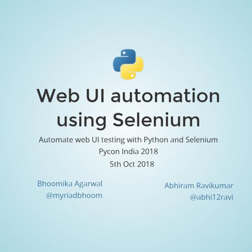 Web UI automation using Selenium