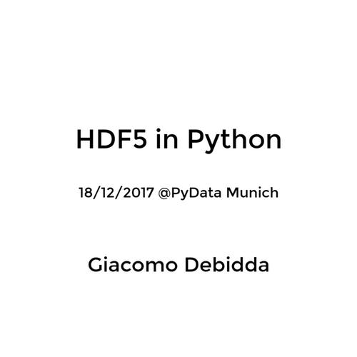 HDF5 talk PyData