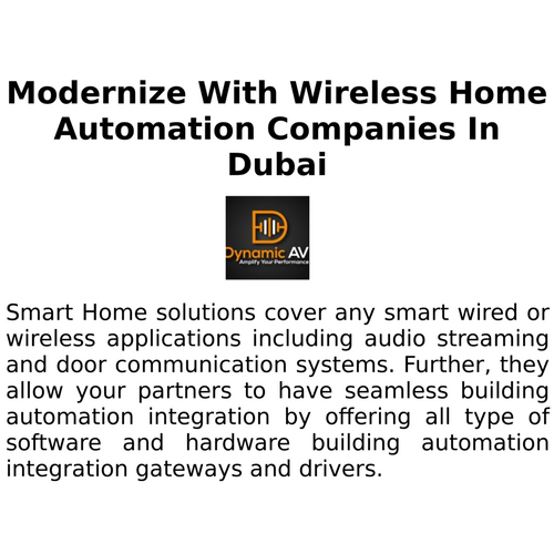 Modernize With Wireless Home Automation Companies In