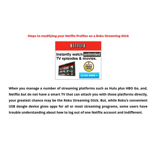 How to change Netflix profile on Roku Stick