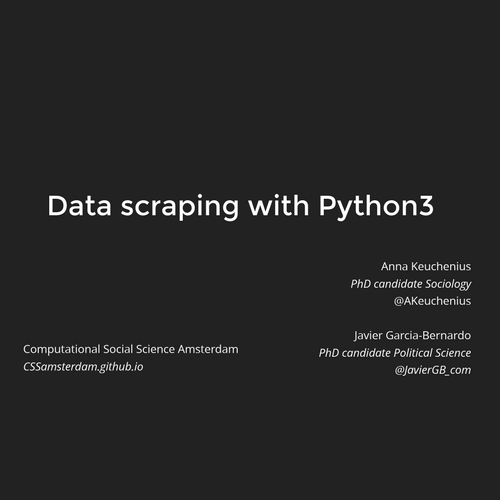 Workshop on data scraping - Amsterdam CSS