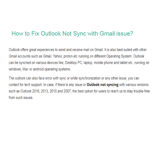 How to Fix Outlook Not Sync with Gmail issue