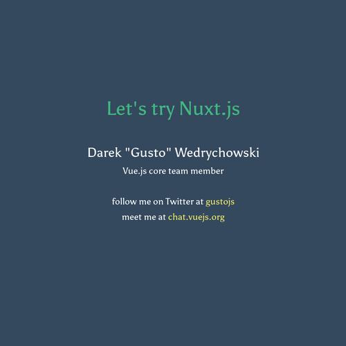 Let's try Nuxt js