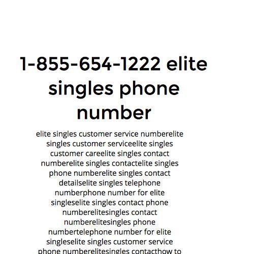 Elite singles phone number