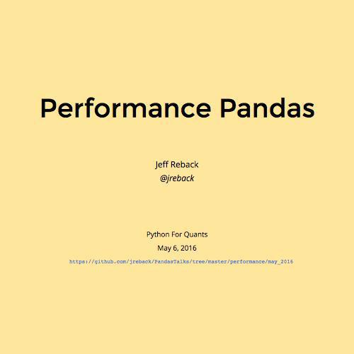 Performance Pandas