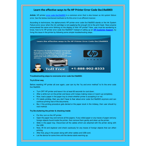 Learn the effective ways to fix HP Printer Error Code 0xc19a0003