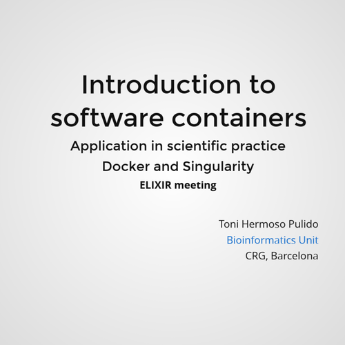Introduction to containers in scientific practice  Docker and