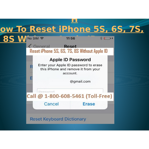1-8006085461 How To Reset iPhone 5S, 6S, 7S, 8S Without Apple ID?