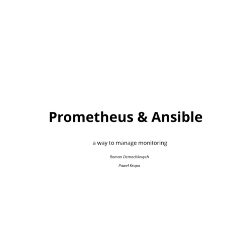 Prometheus deployment with Ansible