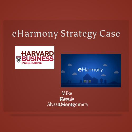 eharmony harvard case Eharmony founded by dr clark warren and his son-in-law, greg forgatch, in 1998  apa mla harvard chicago asa ieee ama eharmony case analysis  we will write a custom essay sample on eharmony case analysis specifically for you for only $1638 $139/page order now search related essays an analysis of eharmony, including the five.