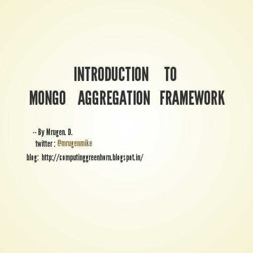 introduction to mongo aggregation framework