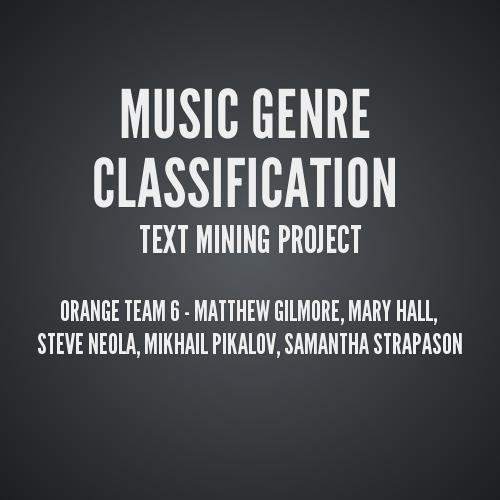 song genre classification Music genre classification is a subjective process as such, there is a long way to  go until a highly reliable mechanism is built in order to classify new songs into.