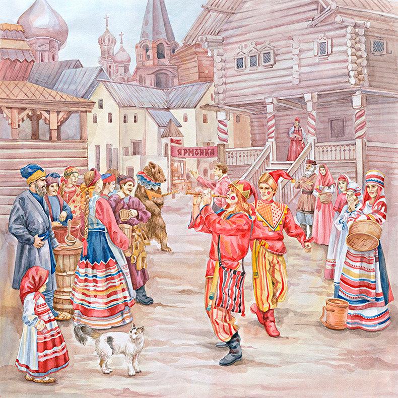 Картинки скоморохов на руси на ярмарке