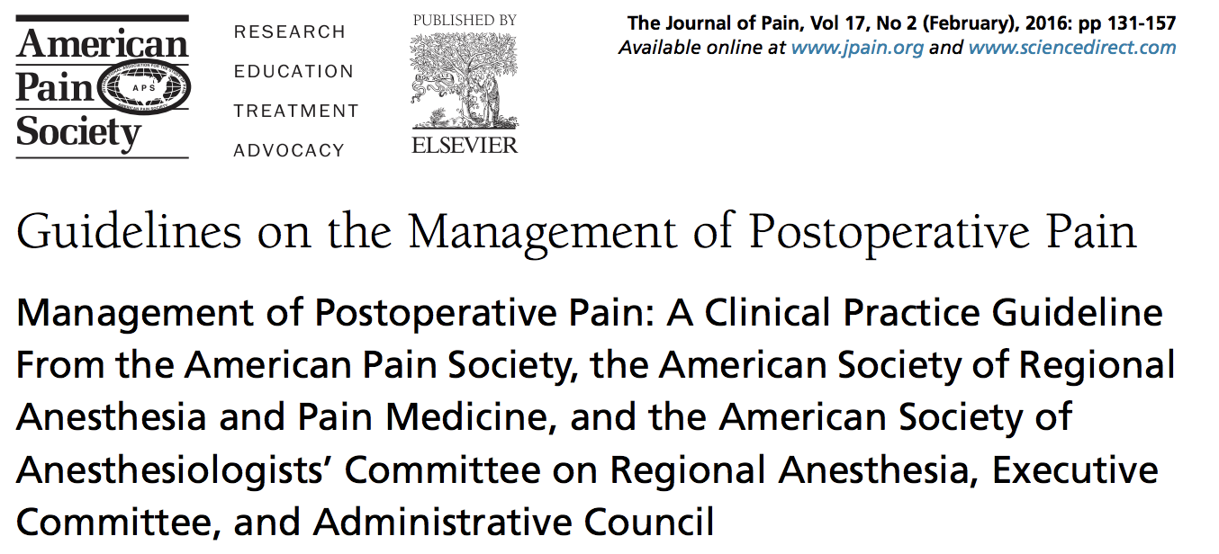 Pain Management Guidelines, 2018