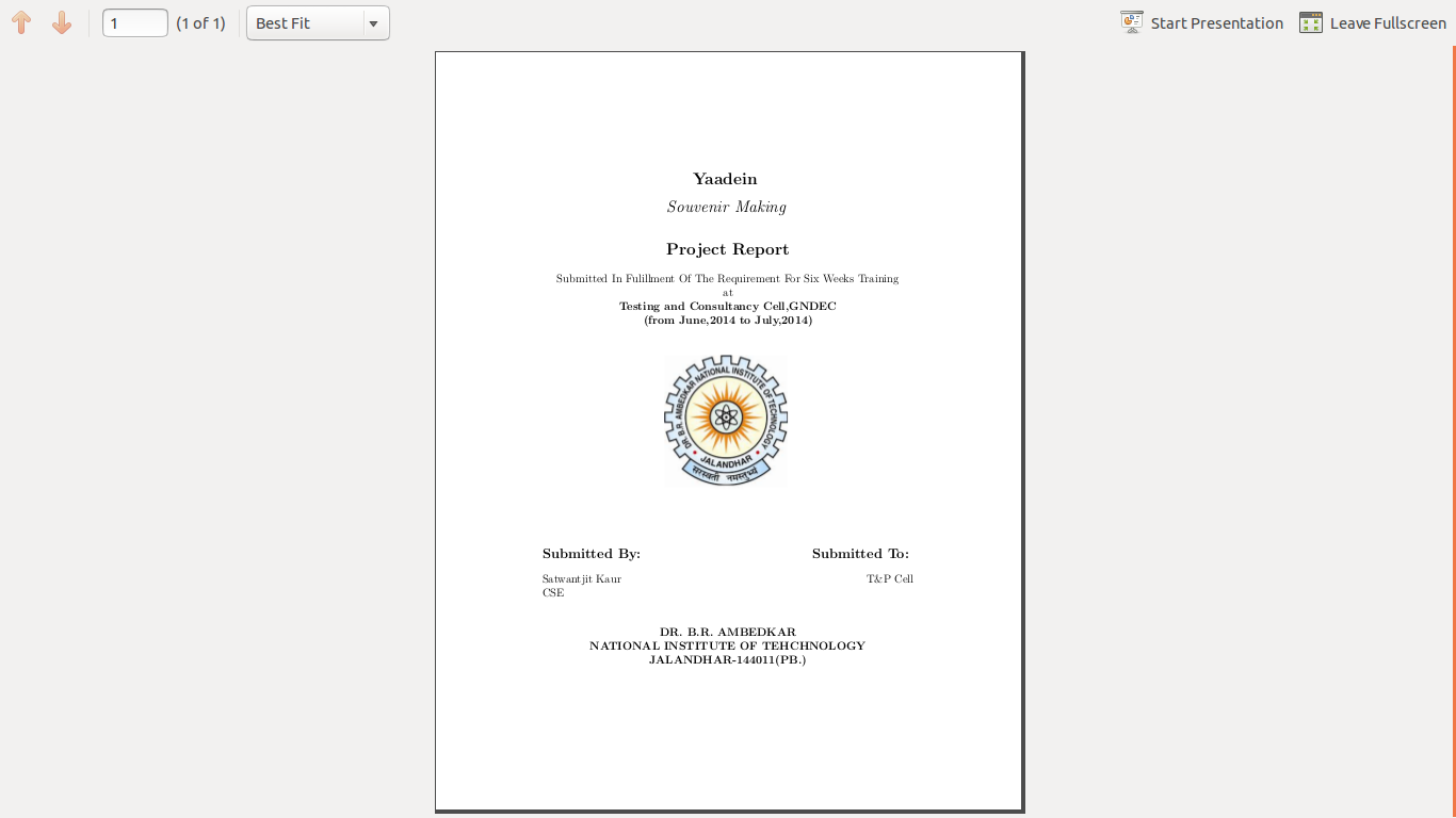 project report front page