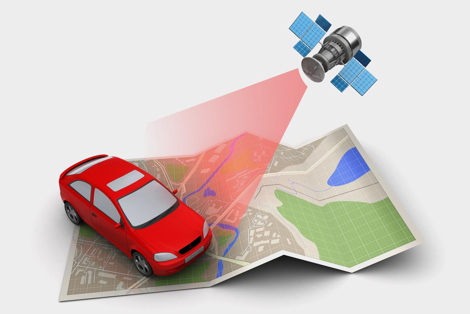 ilustração de carro, mapa e satélite gps