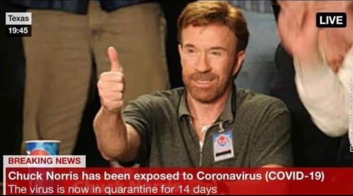 covid 19 meme- chuck norris exposed to coronavirus