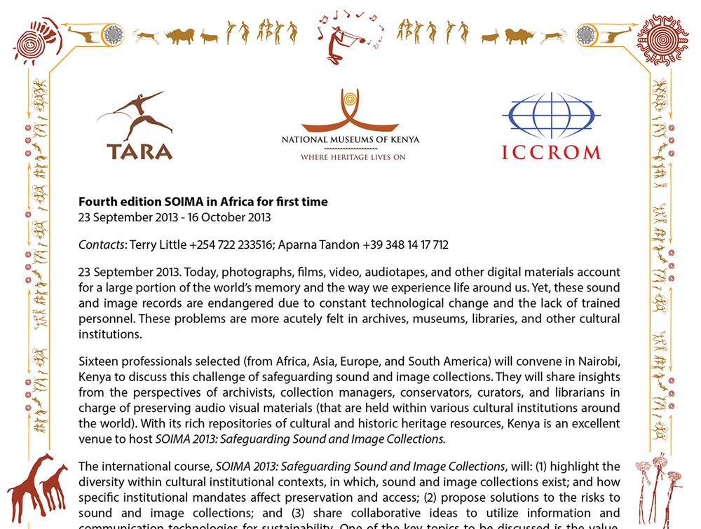 SOIMA 2013 Press Release