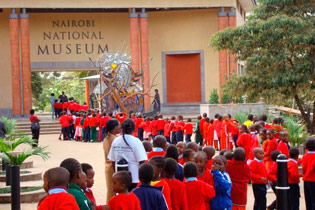 Children line up to enter the Nairobi National Museum which hosted TARA's