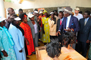 Suba Elders present their heritage to VIPs at the Abasuba Community Peace Museum on Mfangano Island at the museum's grand opening in January 2008. TARA has worked with this community since 2006.