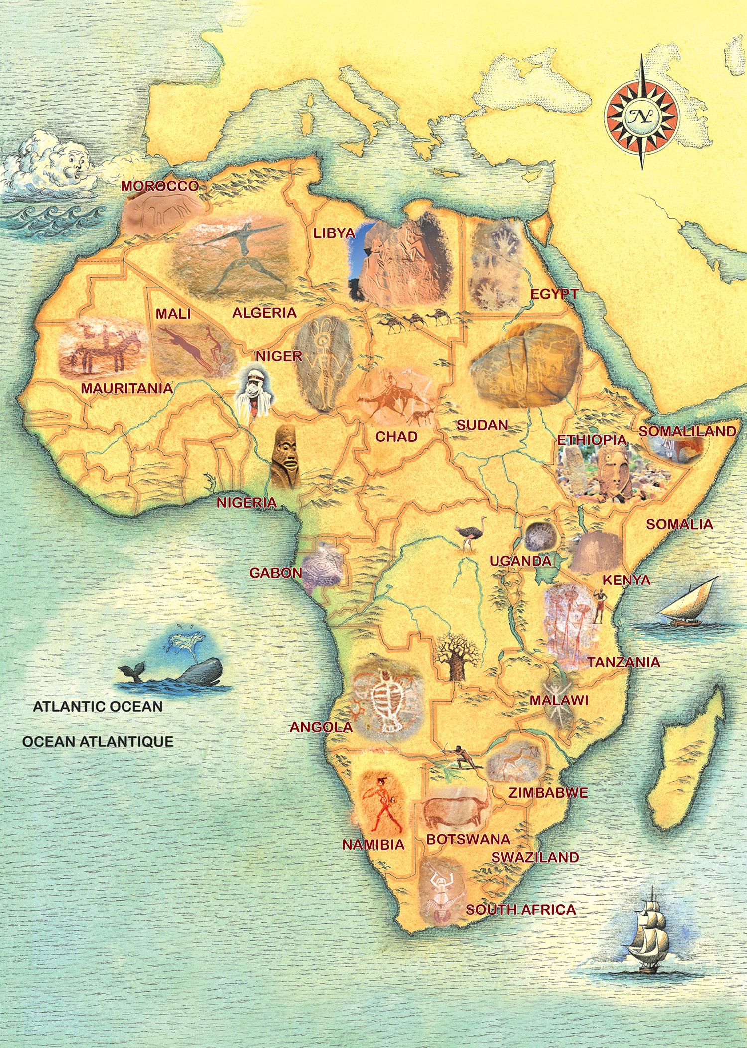 Rock Art In Africa Map,Trust For African Rock Art